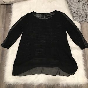 Alfani Black Loose Knit Top Faux Leather Arm